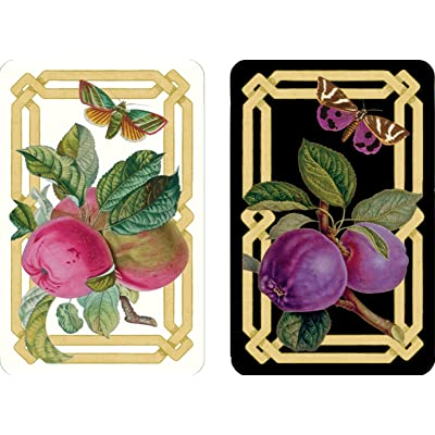 Entertaining with Caspari Double Deck of Bridge Playing Cards, Jumbo Type, Decoupage Garden