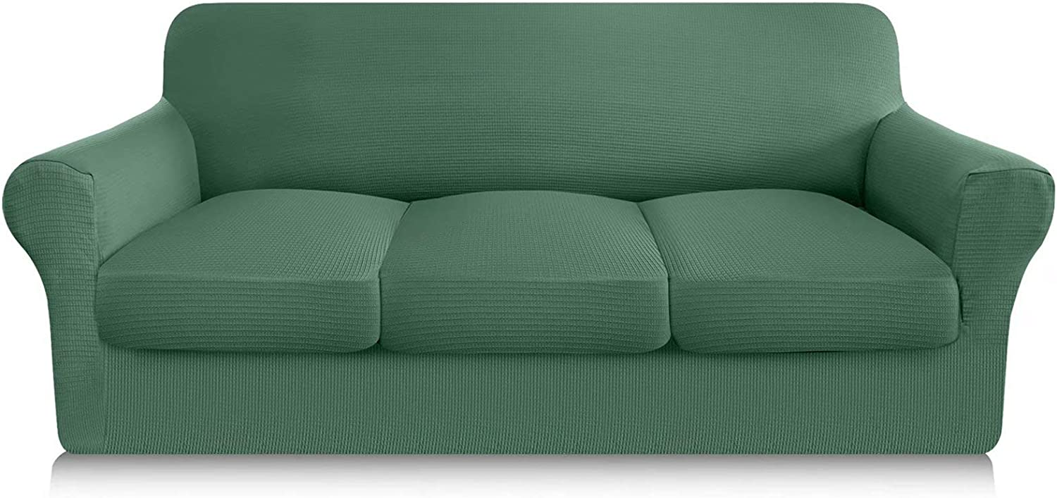 Granbest 4 Piece Sofa Cover with 3 Seat Cushion Covers High Stretch Couch Covers for 3 Cushion Couch Latest Waffle Thick Sofa Slipcover for Dogs Secure Fit Furniture Protector (Large, Matcha Green)