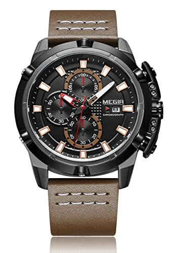 fbe1dceea0 Megir Montre chronographe pour homme, montre homme avec bracelet en cuir  Marron ml2062g
