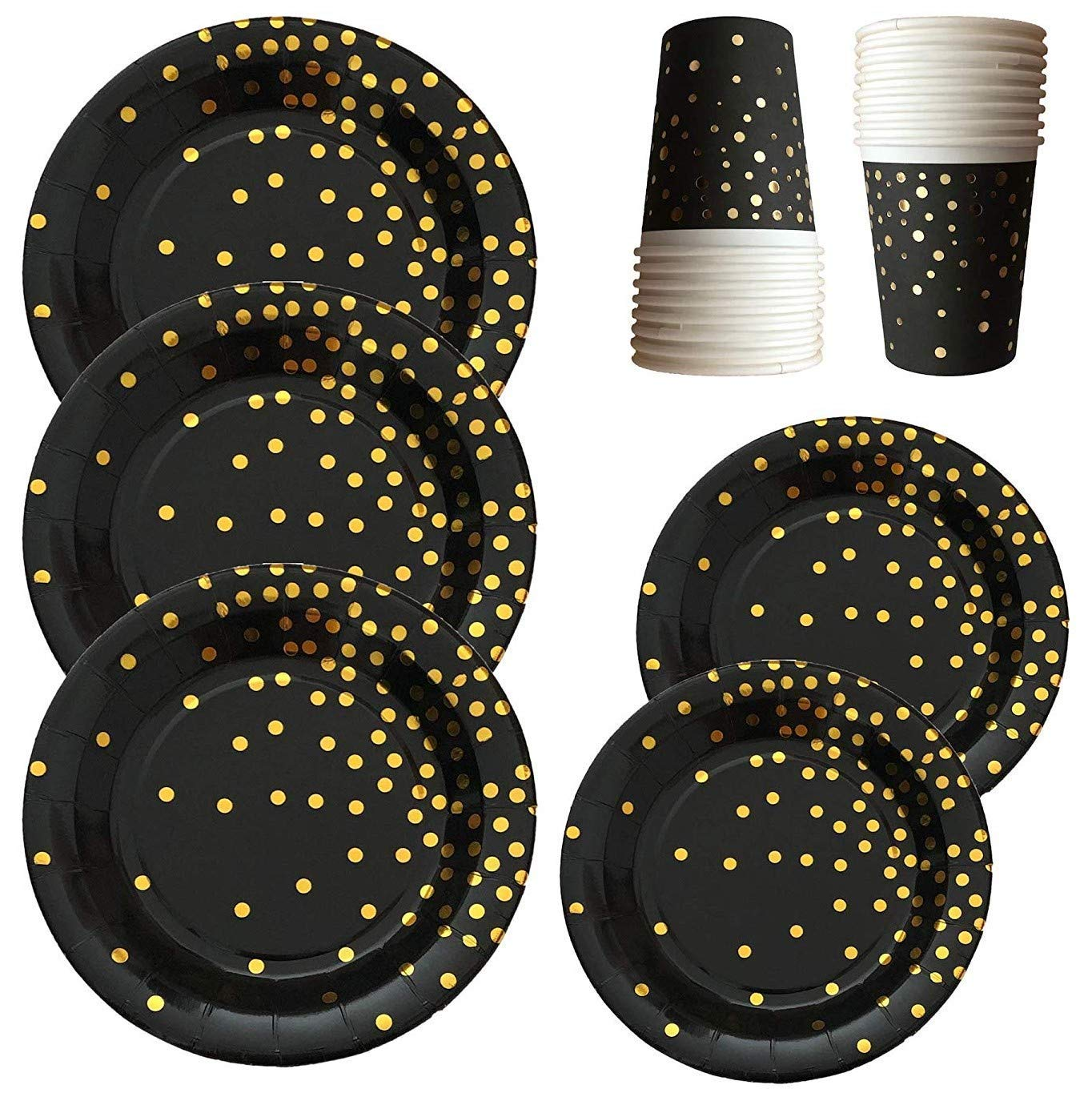 Black and Gold Party Supplies - 72-piece 24 Sets Disposable Paper Plates with Gold Foiled Polka Dot Confetti Disposable Dinnerware Plates and Cups Party Set - 9'' Plates, 7'' Plates, 9oz Cups by Partay Shenanigans