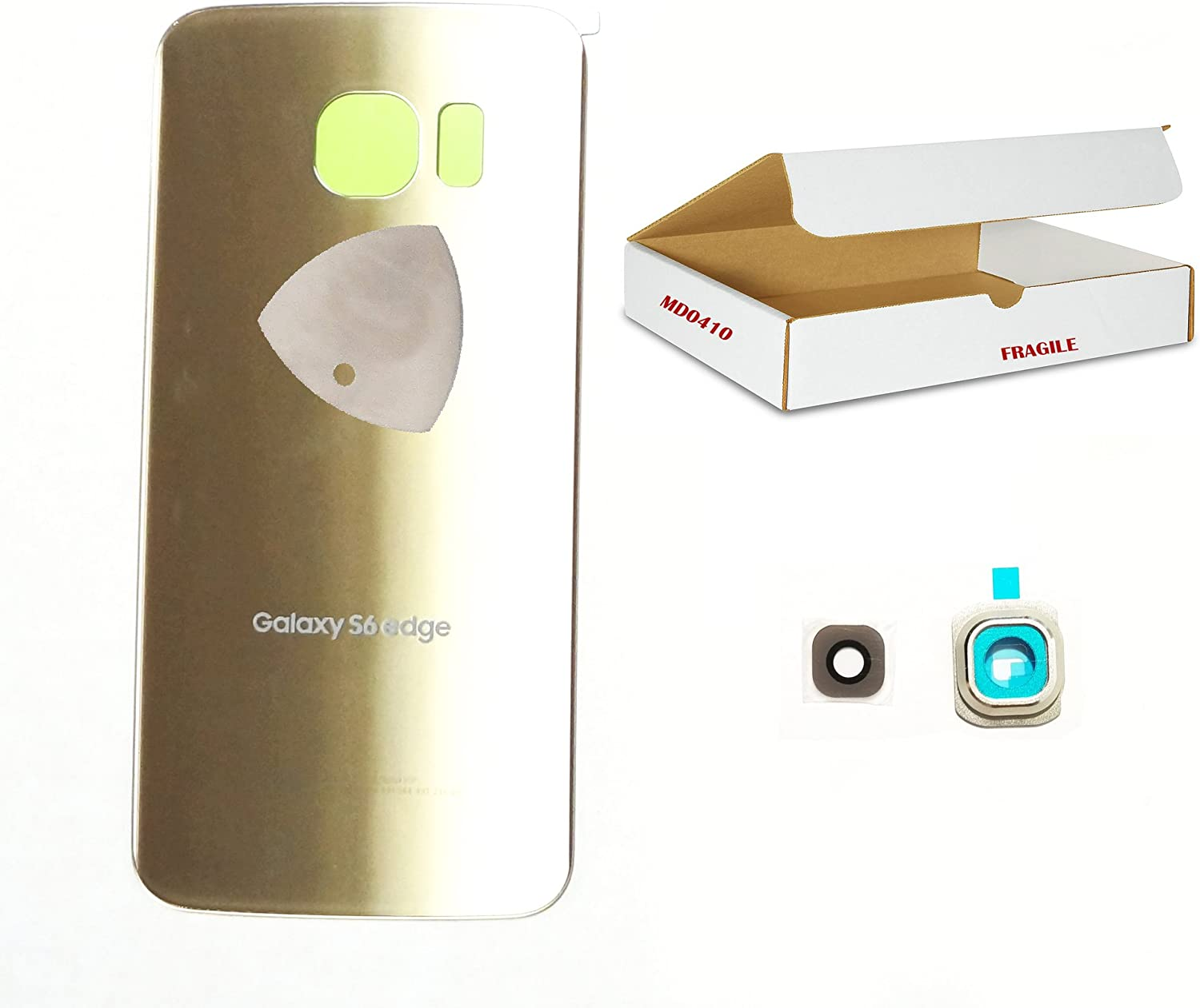 Adhesive Opening Tool Gold Back Glass Door Rear housing Camera Lens Cover Compatible for Galaxy S6 Edge G925 Replacement md0410