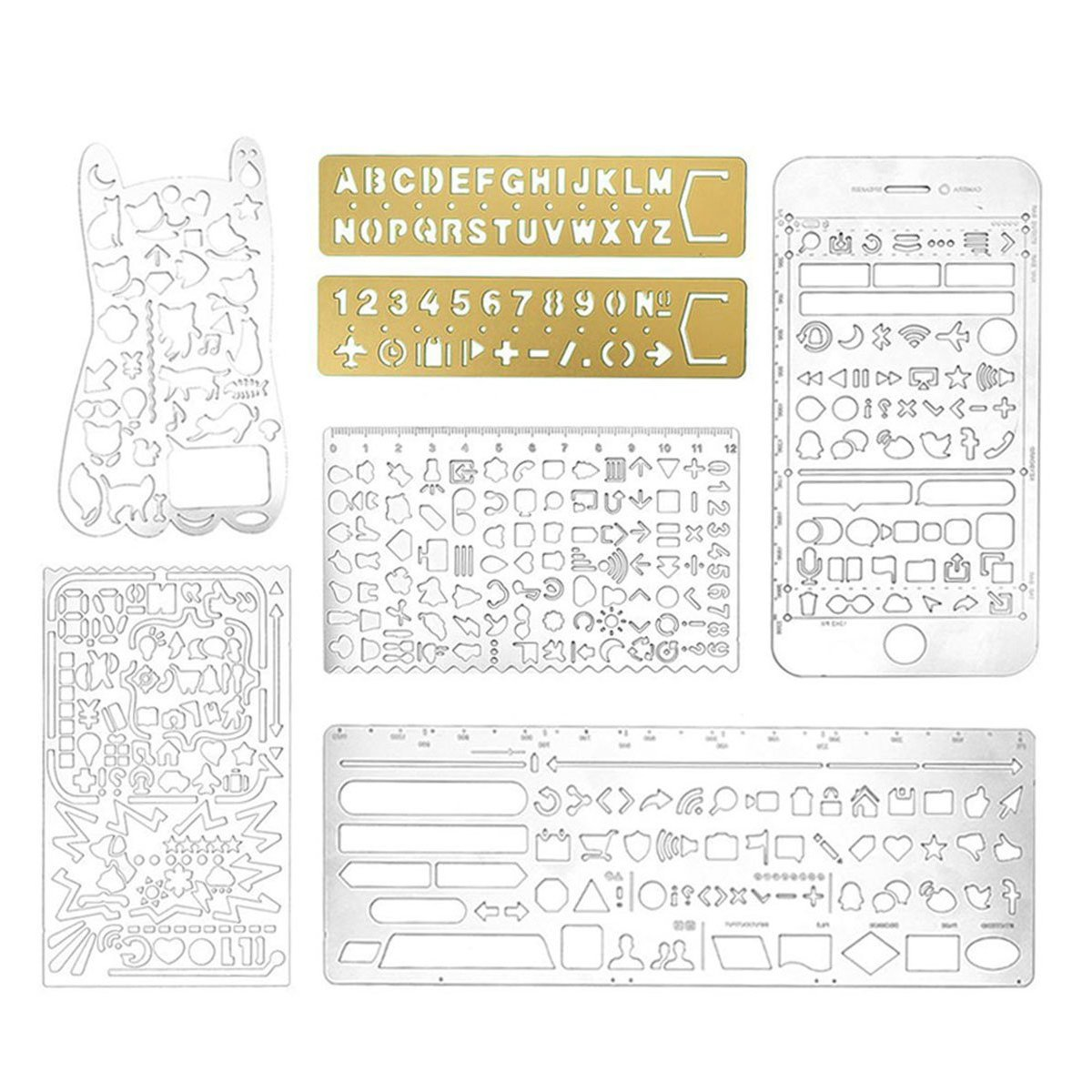 Teenitor Pack of 7 Stainless Steel Drawing Painting Stencils Scale Template Portable Drawing Graffiti for Scrapbooking, Card and Craft Projects