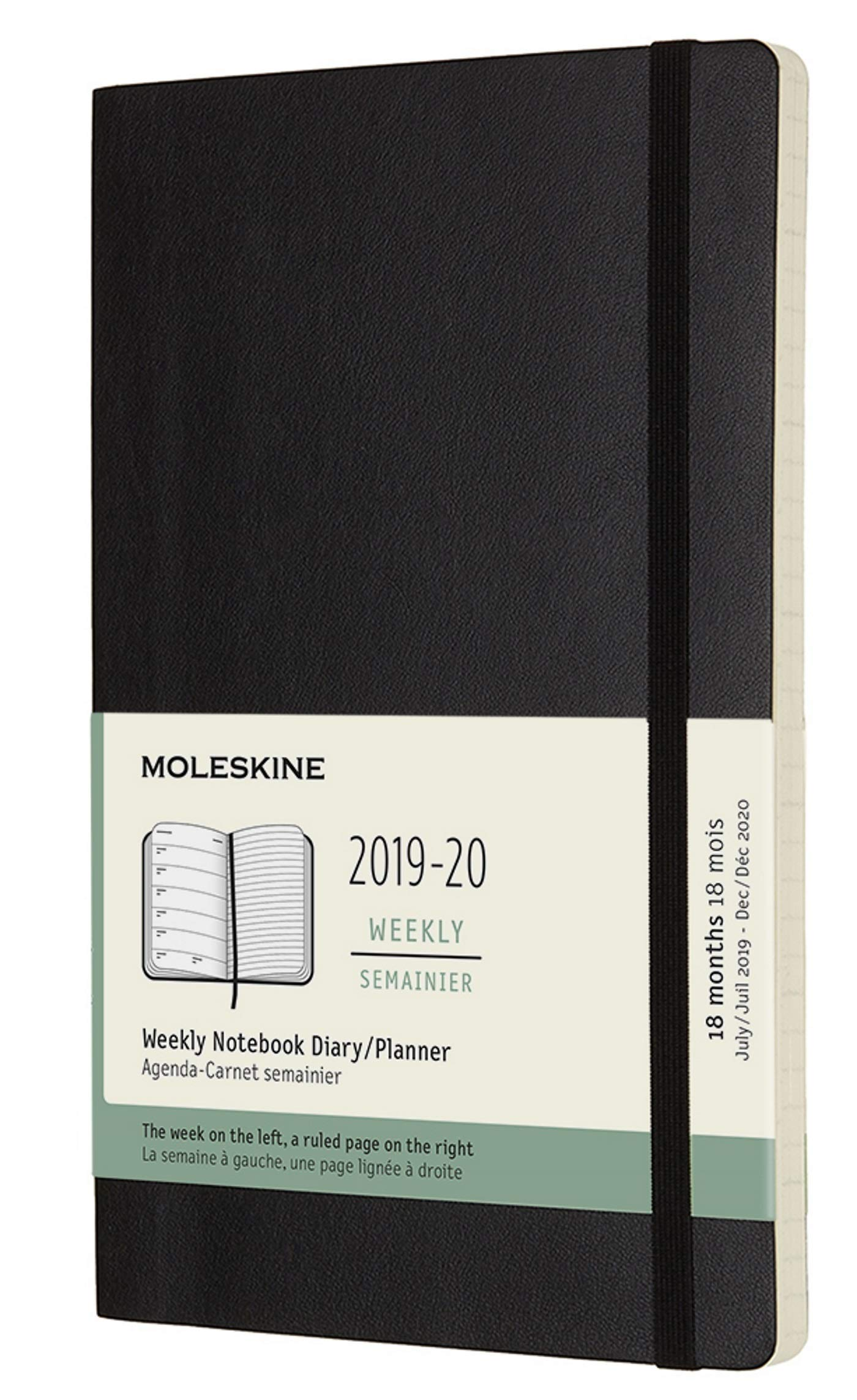 Moleskine Classic 18 Month 2019-2020 Weekly Planner, Soft Cover, Large (5'' x 8.25'') Black by Moleskine