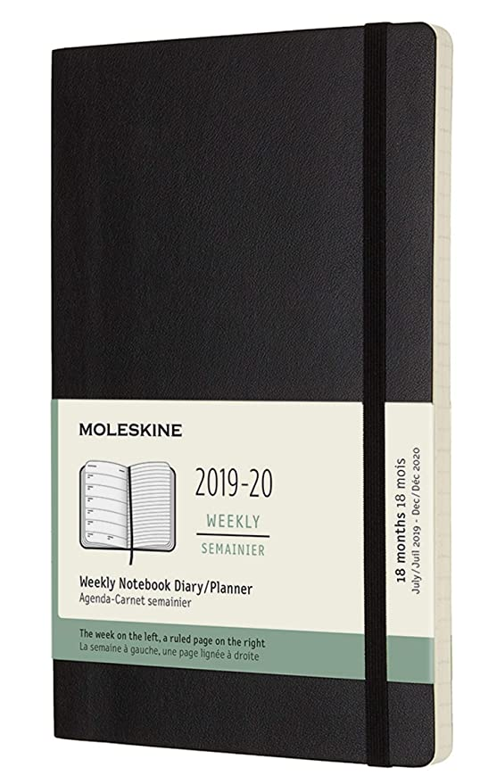 Moleskine Classic 18 Month 2019-2020 Weekly Planner, Soft Cover, Large (5