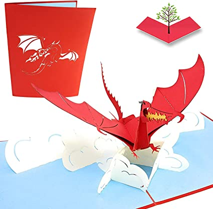 Pop up Card 3D Cards 3D Special Gift Card Pop up Birthday Card Pop Up Dragon 3D Dragon Card Mystical Fire Breathing Dragon Pop Up Card