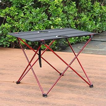 Wankd Mesa de camping portátil con tablero de aluminio plegable ...