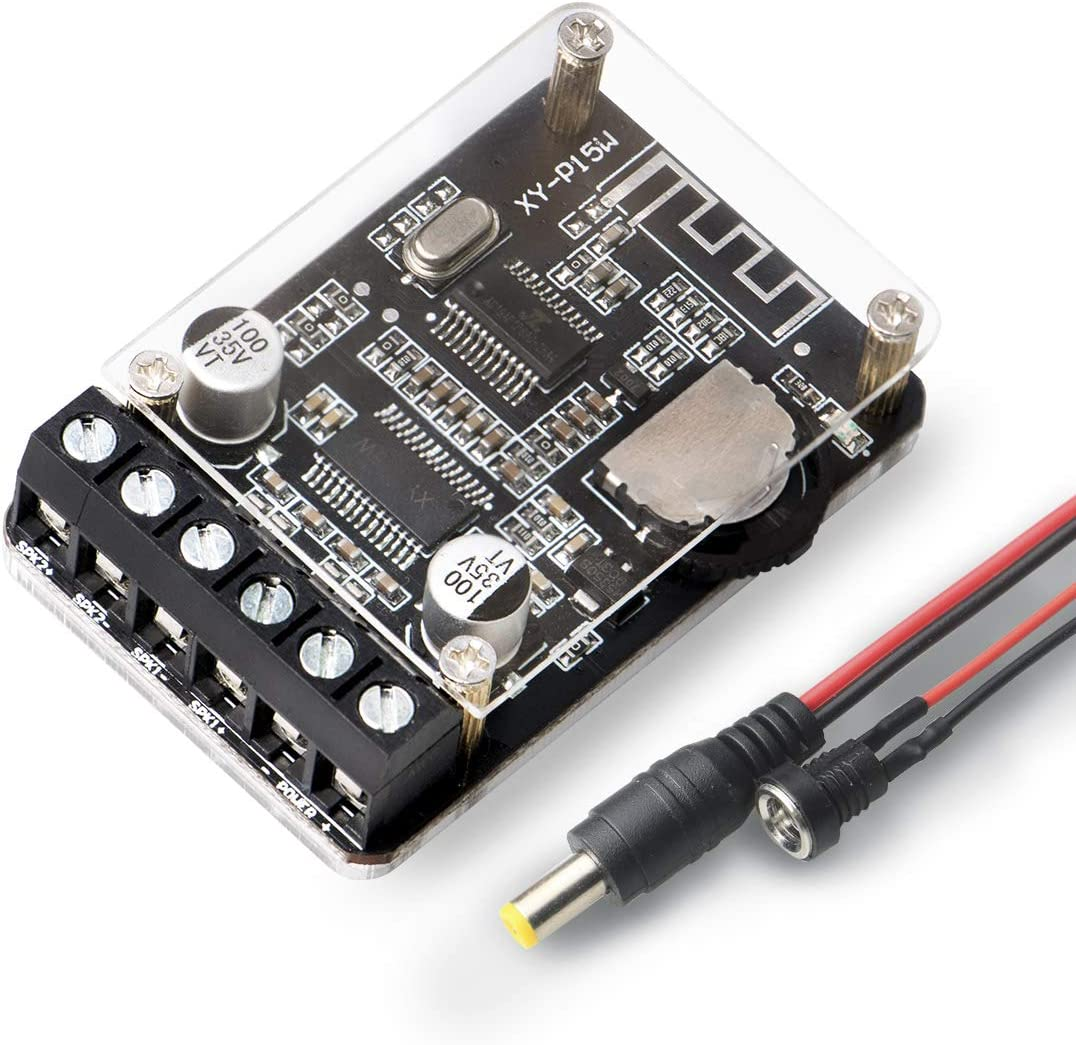 OWAYKEY - Amplificador de audio Bluetooth (10 W, 15 W, 20 W, 2 canales, estéreo, inalámbrico, mini amplificador, con carcasa protectora)