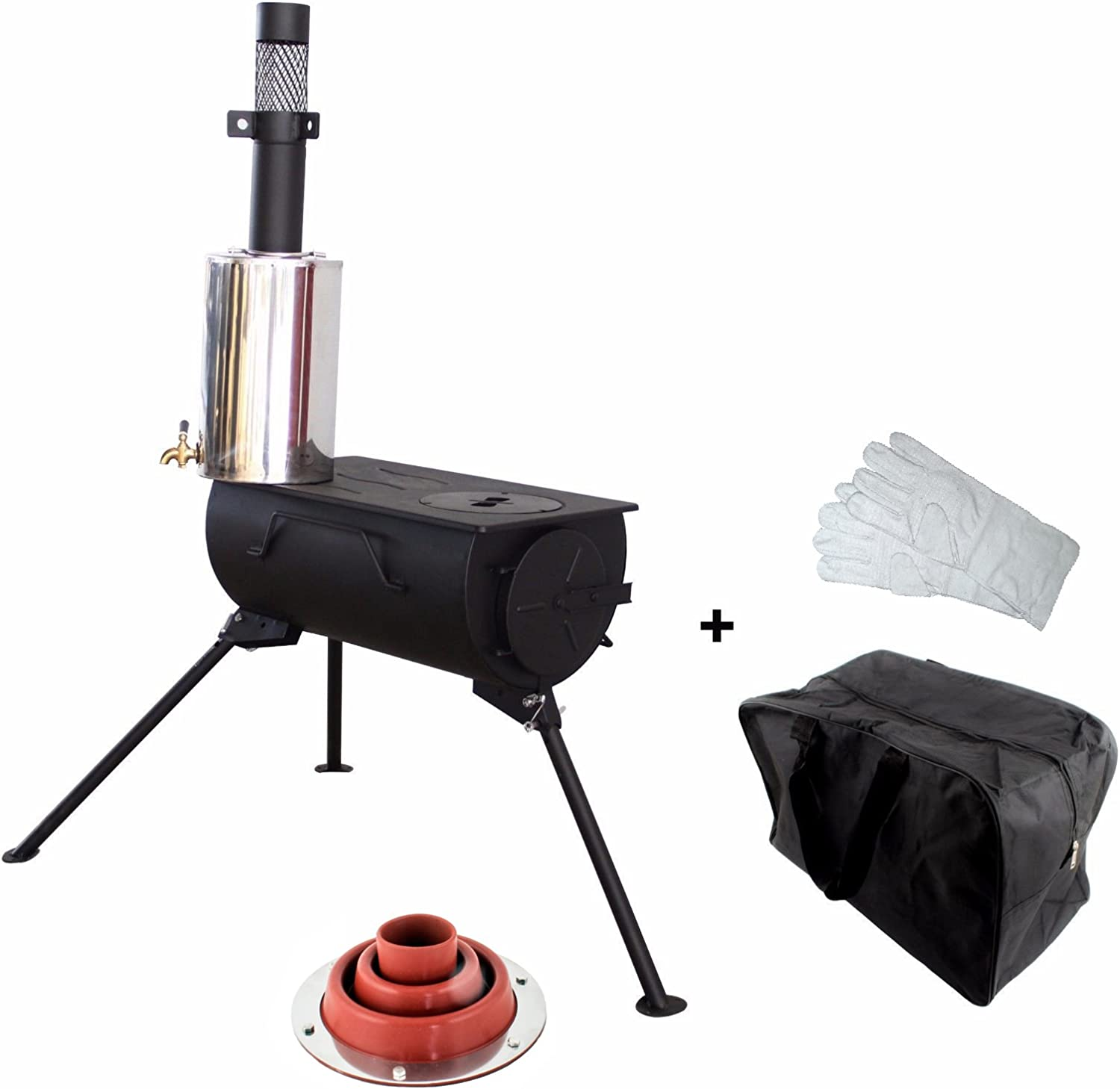 NJ Comfort Wood Burning Stove Portable Camping Cooker + 3L Water Heater and Flashing Kit