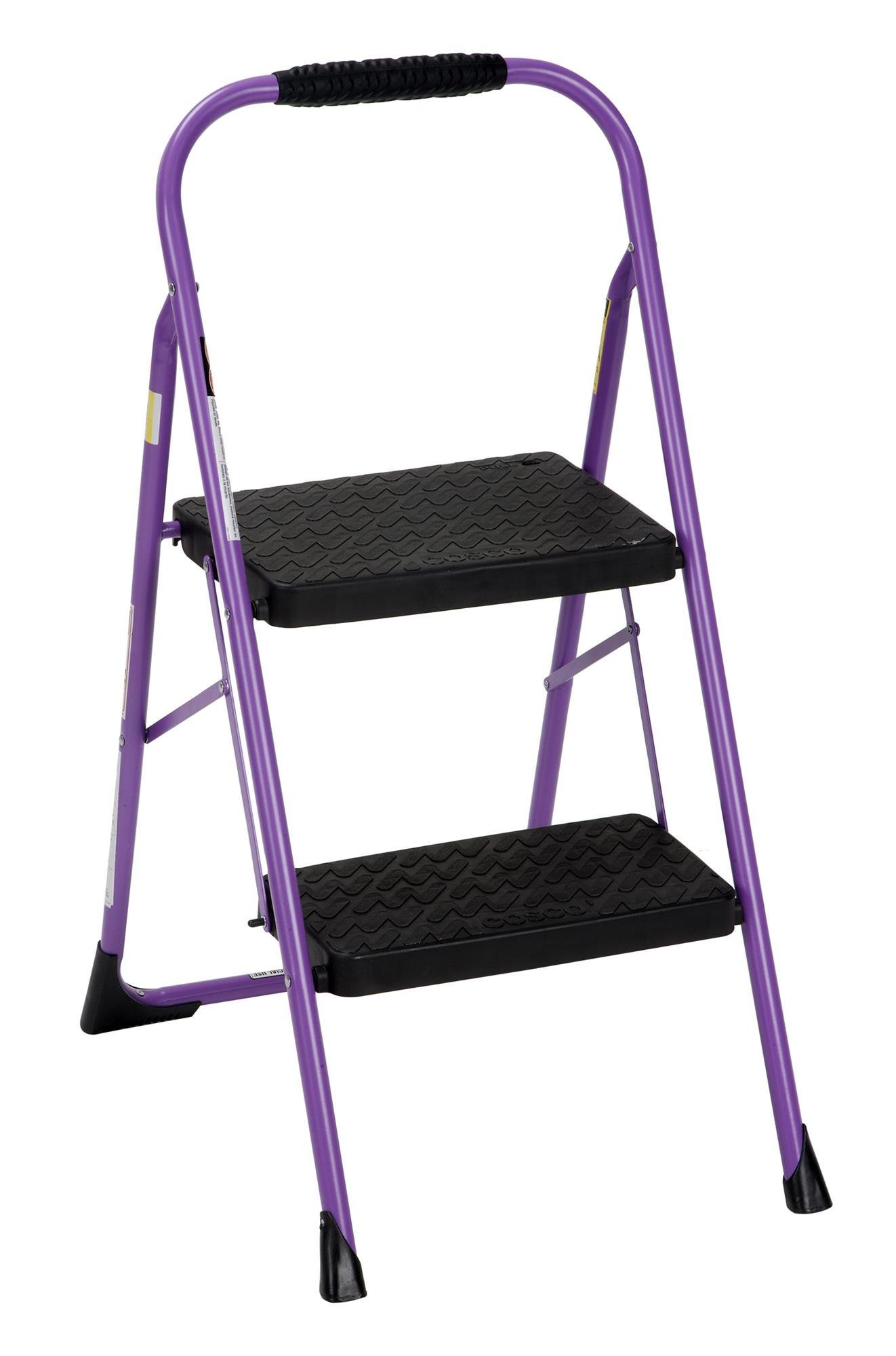 Cosco Two Step Big Step Folding Step Stool with Rubber Hand Grip, Purple (Renewed)