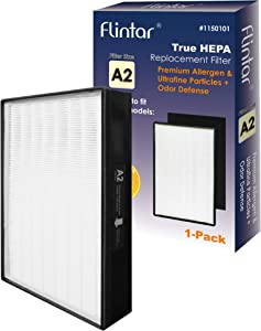 Flintar Type A2 True HEPA Replacement Filter with Activated Carbon Pre-Filter, Compatible with Filtrete Room Air Purifier, Remove Allergens and Odors, Part # 1150101, Filter Size A2, 1-Pack