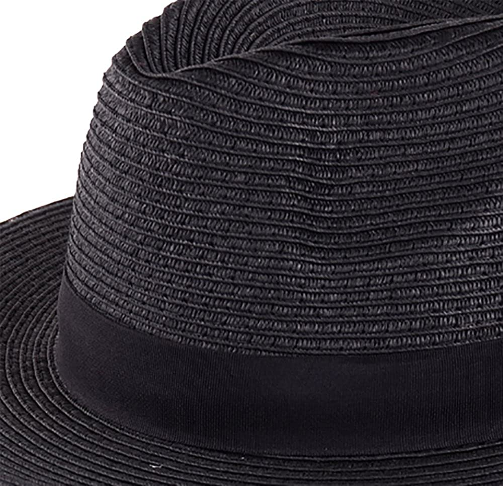 0c6360e04a31e BYOS Summer Classic Straw Panama Fedora Sun Hat In Solid Color W  Black  Grosgrain Band Trim (Black) at Amazon Men s Clothing store
