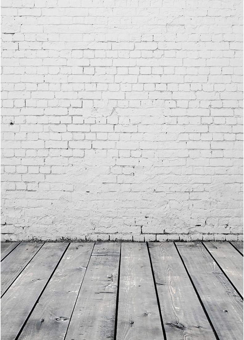 Pared de ladrillo Blanco Tablero de Madera Piso Telón de Fondo Decoración Baby Shower Recién Nacido Comida para Mascotas Fotografía Fondo Photo Studio Props A3 9x6ft / 2.7x1.8m