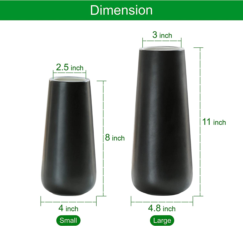 Design Box Package Ceramic Flower Vase for Home D/écor Matte Black 8 Inch