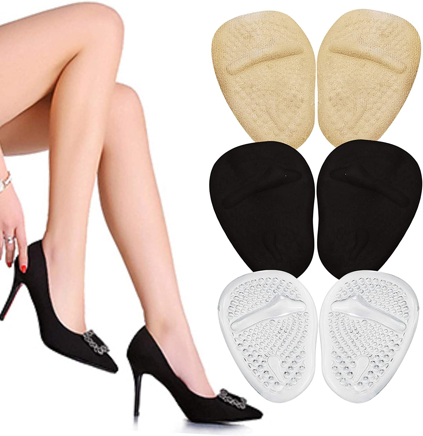 High Heel Cushions -Ball of Foot Pads- Non Slip Shoe Inserts - Forefoot Metatarsal Pads for Women & Men for Foot Pain Relief -High Heel Inserts for shoe comfort- Beige Clear Black Ball of Foot Cushion: Health & Personal Care