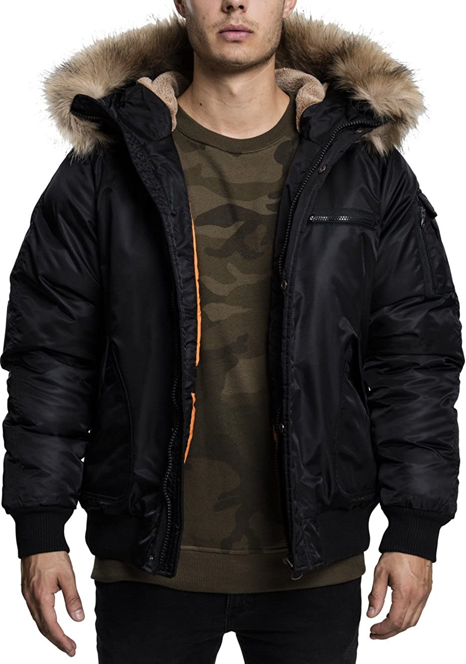 TALLA L. Urban Classics Hooded Heavy Fake Fur Bomber Jacket Chaqueta Hombre