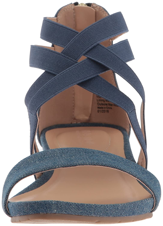 Kenneth Cole REACTION Women's B076BXB7RW Great Stretch Low Wedge Sandal B076BXB7RW Women's 6 B(M) US|Blue ae69b1