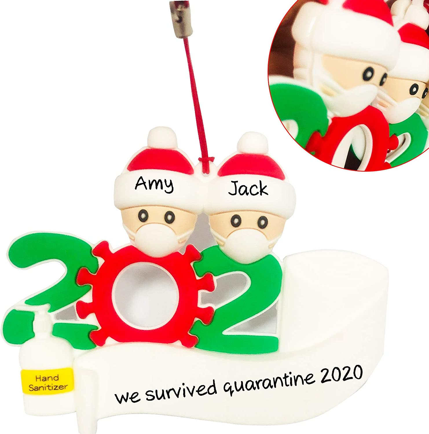 Personalized Covid Ornament 2020 Ornaments Upgrate 3D Personalized Quarantine Survivor Family Stay at Home Gift, Unique Xmas Decorations Gift Keepsake Pandemic Christmas Ornament(2 )