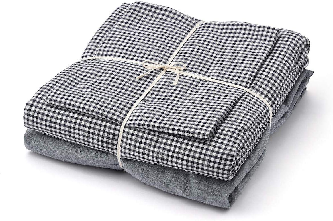 無印良品 綿洗いざらしふとんカバーセット/ネイビー/チェック ベッド用 シングルサイズセット