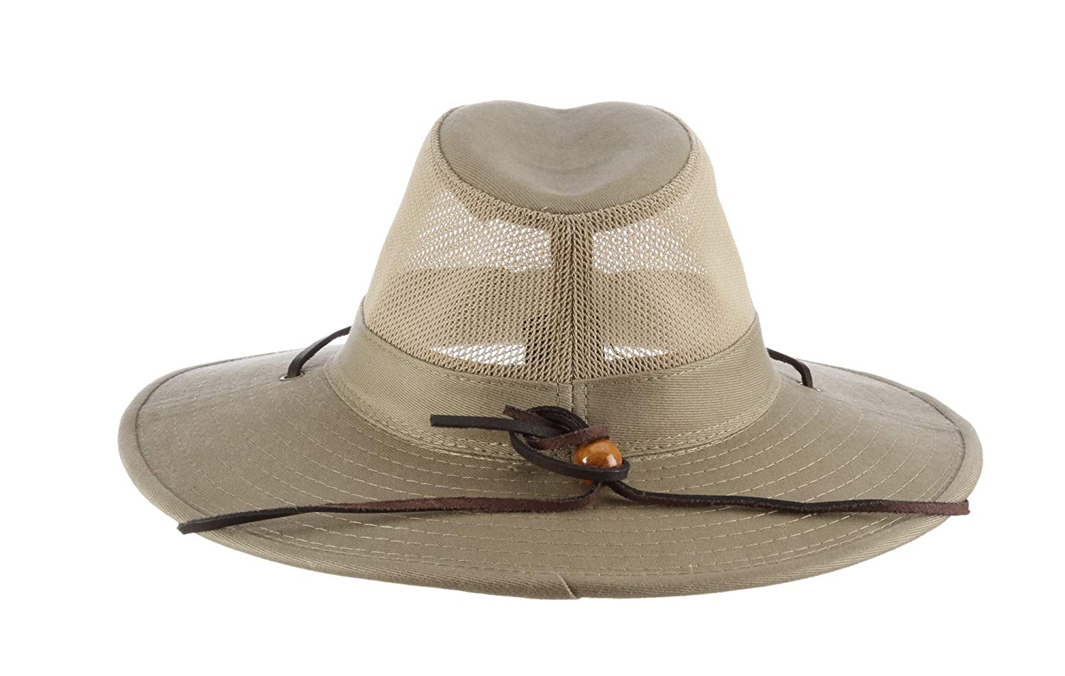 00d884bc9f458e Dorfman Pacific Men's Brushed Twill-and-Mesh Safari Hat with Genuine  Leather Trim at Amazon Men's Clothing store: Dorfman Pacific Hats For Men
