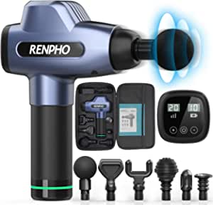 RENPHO Massage Gun Deep Tissue, Muscle Massagers, Powerful Handheld Quiet Percussion Massager with 20 Speed Levels 6 Heads, Gym Office Home Post-Workout