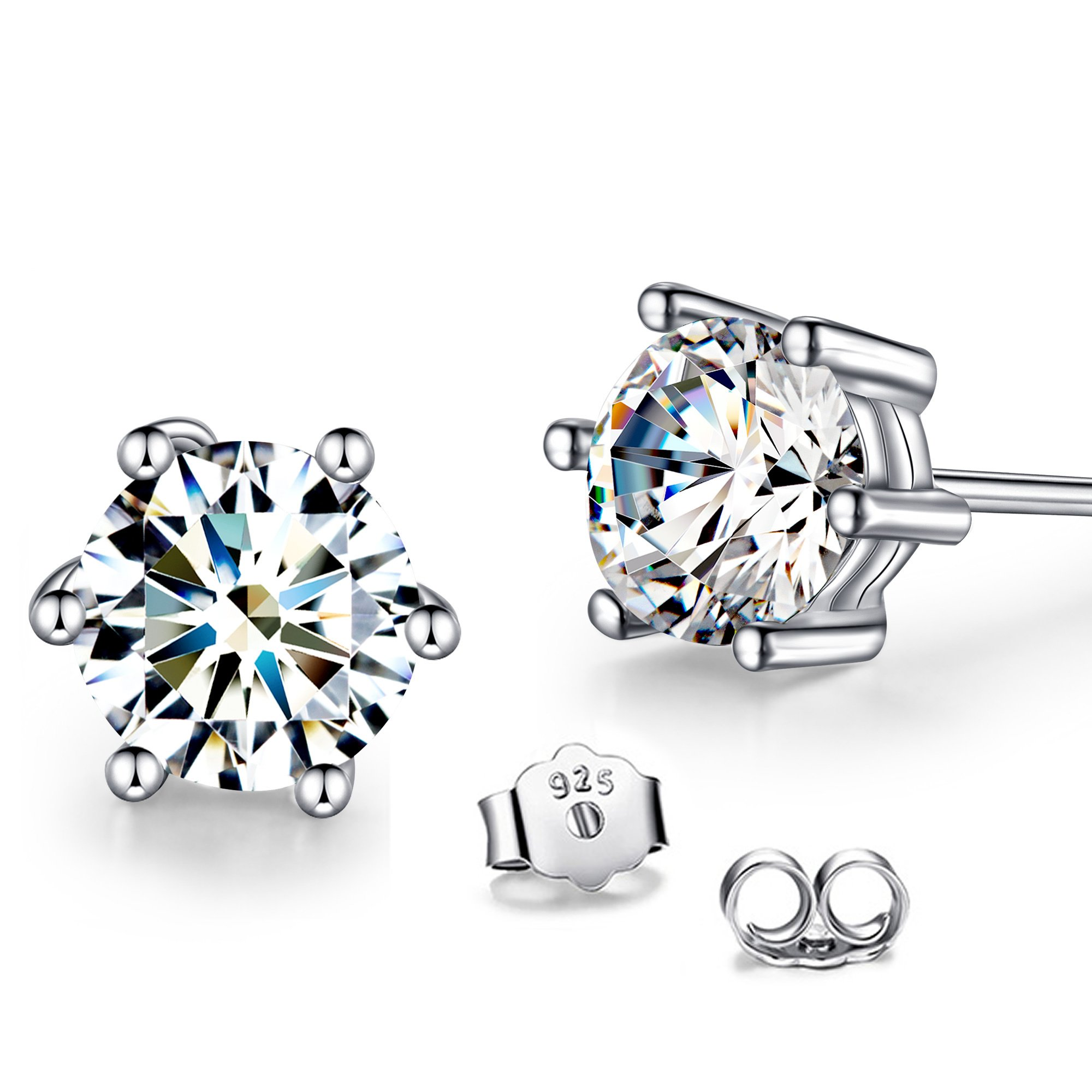 T400 925 Sterling Silver Stud Earrings Swarovski Cubic Zirconia CZ Simulated Diamond Unisex Gift