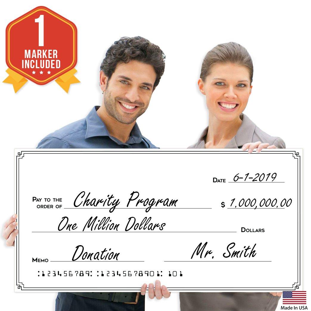 Giant Fake Award Presentation Check - 32'' x 16'' - Large Novelty Endowment Check for Endowment, Donations, Fundraiser - Big Blank Oversized Raffle Sweepstakes Reward Winners Check