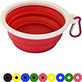 Zenify Dog Bowl - 400ml Collapsible Foldable Food and Water Feeder Dish - Portable Travel Leash Lead Slim Accessories for Training Pets Puppy Dogs (5 inches / 12.7 cm) (Pink/White)
