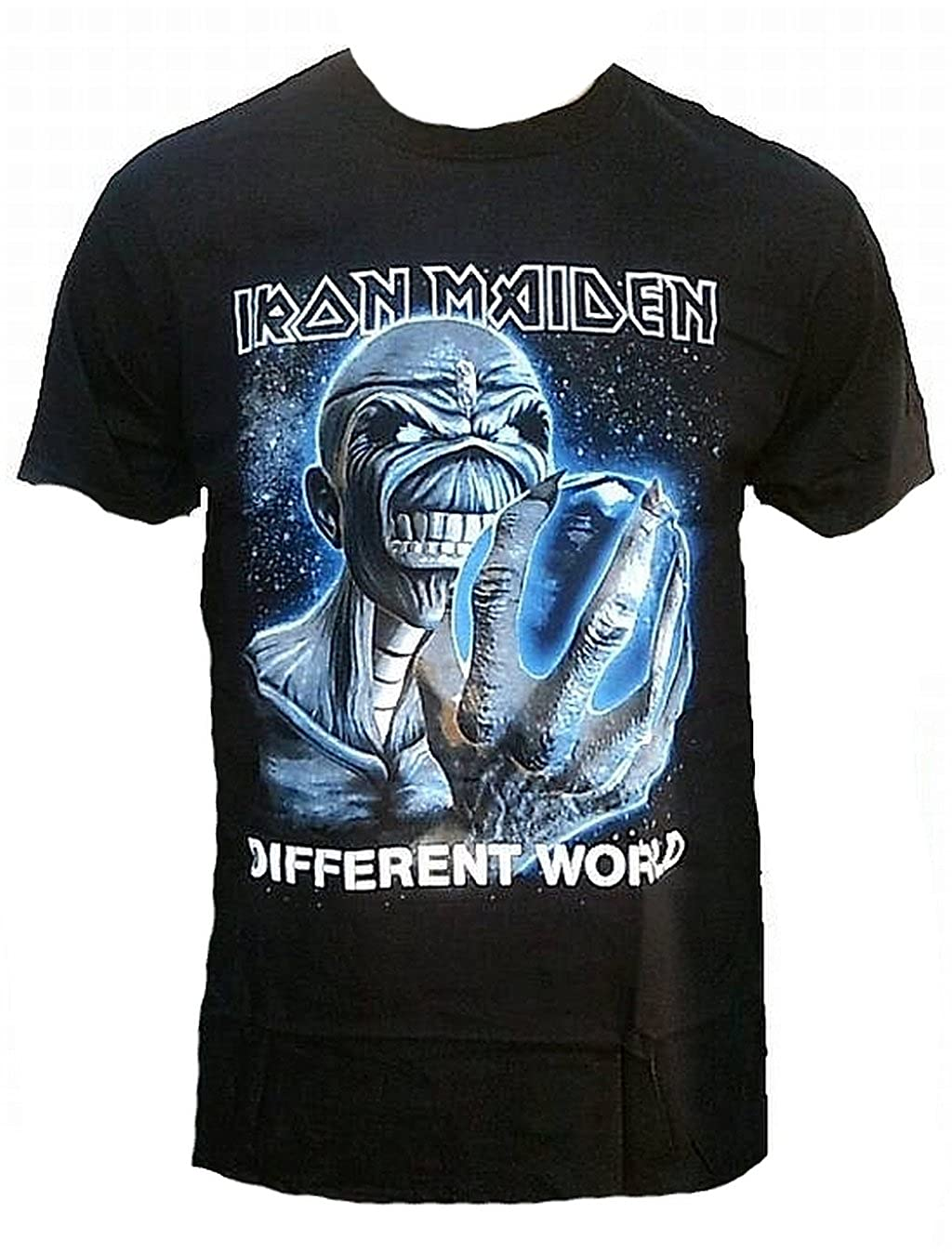 Iron Maiden - Camiseta para hombre, color Different World Official Eddie personalizada Killer Skull Rock Star Tour manga Club VIP Rock Star Diseño negro ...