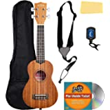 Kala KA-15S Satin Mahogany Soprano Ukulele Bundle with Gig Bag, Tuner, Strap, Fender Play, Austin Bazaar Instructional DVD, a