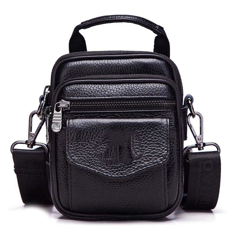 Small Leather Mens Shoulder Bag Handbag Messenger Bags Zipper,Black,S
