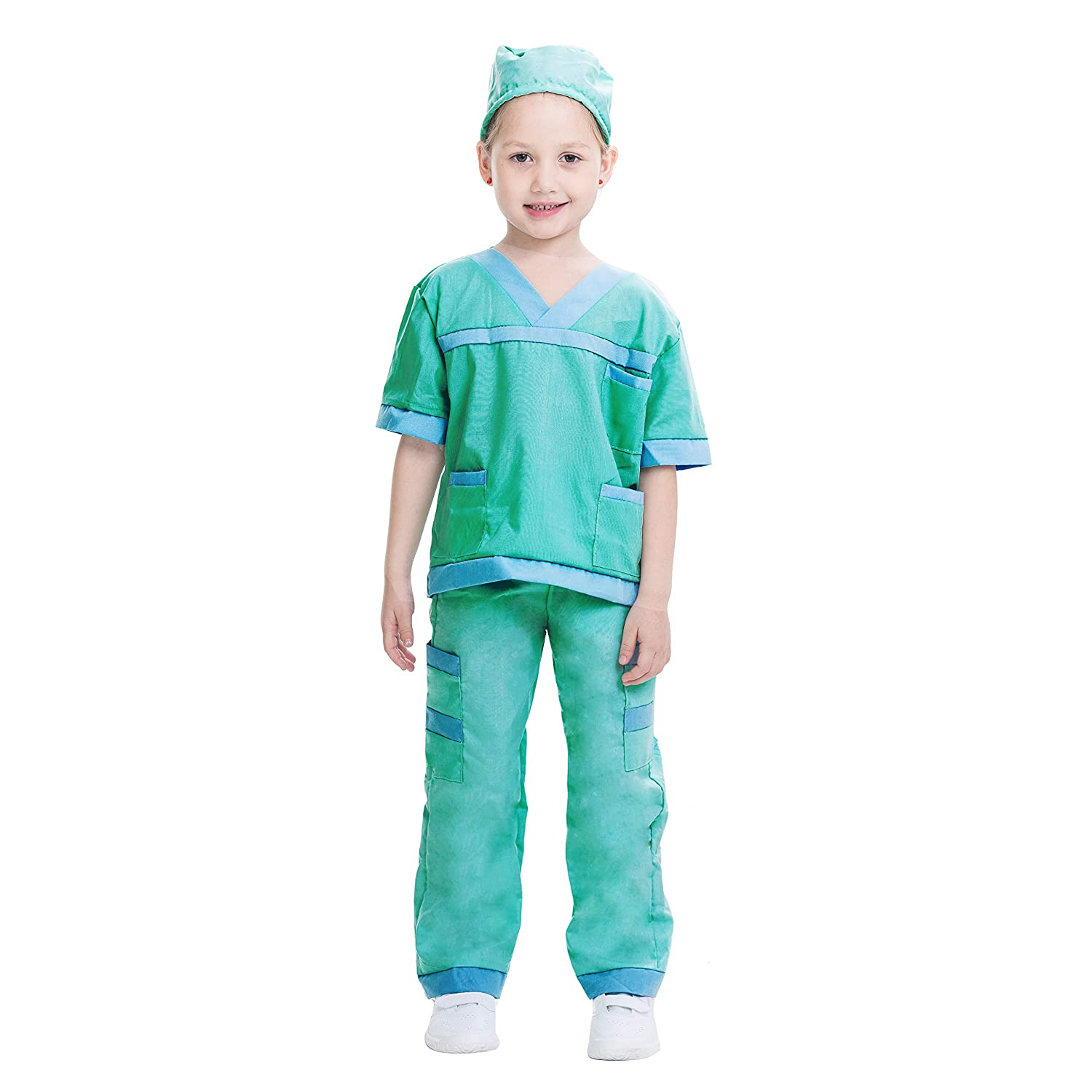 66fead2e465c5 Amazon.com: Dr. Scrubs Deluxe Kids Toddler Vet Costume Set in Green for  Scrub's Pretend Play, Halloween Jr. Doctor Dress Up Party: Clothing
