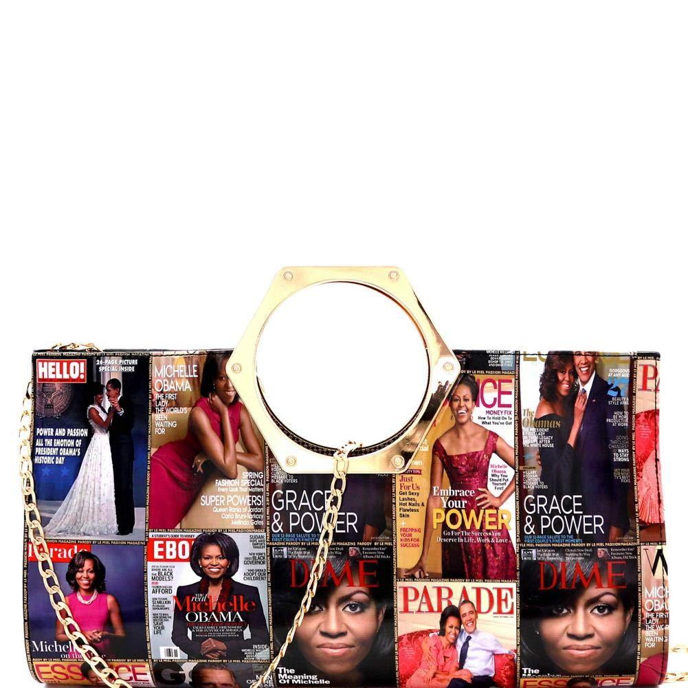 Metal Handle Magazine Cover Michelle Obama Patent Large Clutch Carry Bag Shoulder Bag Evening Bag