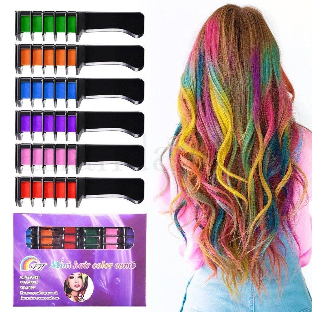 Temporäre Helle Haar-Kreide-Set - Kalolary Metallic Glitter für alle Haar Colors- in Sealant Errichtet, Für Kinder Haarfärbung Partei und Cosplay DIY, 6 Farben