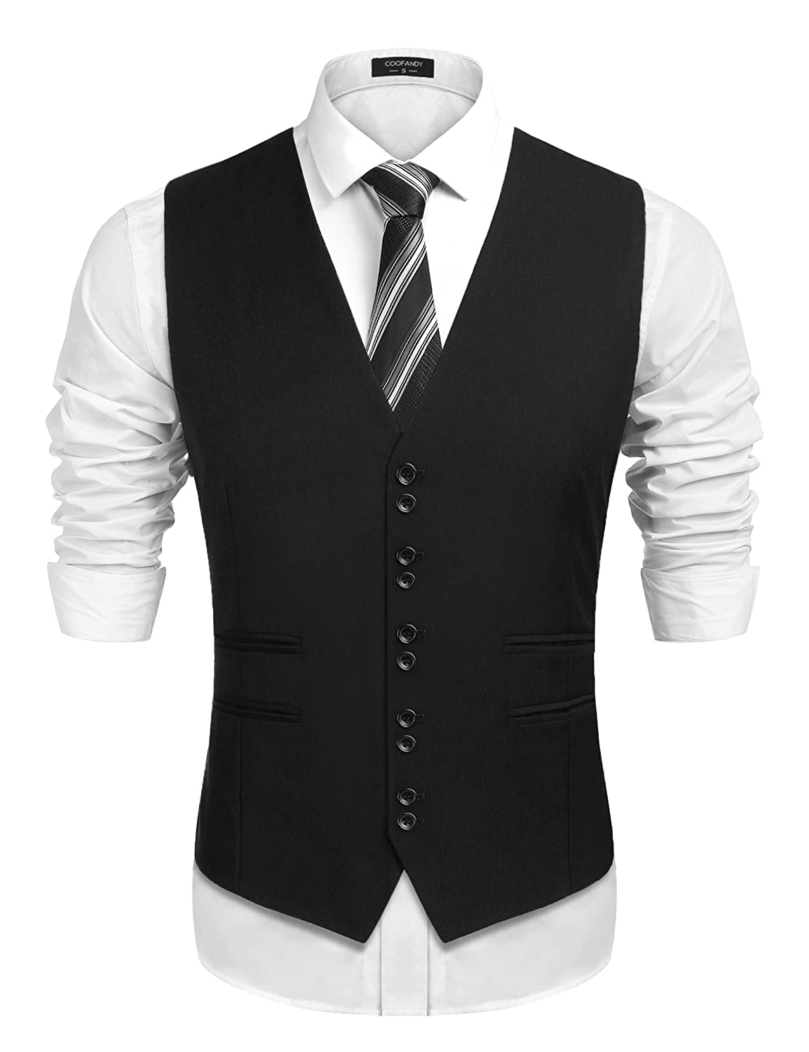 Waistcoat Fit Style Men's Wedding Suit Formal Vest Coofandy 1920's Skinny Slim 8PwOk0Xn