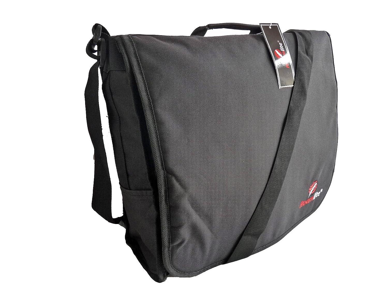 Roamlite Dispatch Courier Bags - Cross Body DJ Deejay Style Black Record Bag - Urban Messenger Side Shoulder Bag for Work - Excellent A4 Folder or Book Size For School, College or Uni Students RL38K