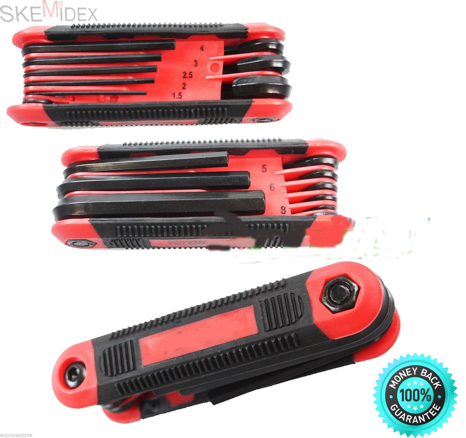 SKEMiDEX---8pcs MM Metric Folding Pocket Hex Allen Key Wrench Driver Set Easy Grip New. Foldable design, for easy storage Strong PVC handle Torx end design with pin hole Rubberized handle