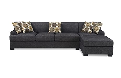 Case De Andrea Milano 2 Piece Faux Linen Sectional Sofa With Reversible  Chaise, Ash
