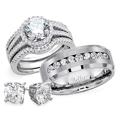 Bellux Style His And Hers Wedding Engagement Anniversary Ring Sets Womens Sterling Silver Rings Set And Mens 316l Stainless Steel Wedding Bands