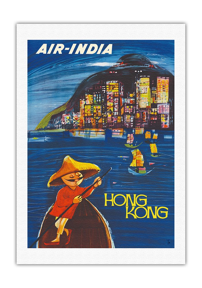 Hong Kong Maharaja - Air India - Vintage Airline Travel Poster by J. B. Cowasji c.1950s - Fine Art Rolled Canvas Print - 27in x 40in
