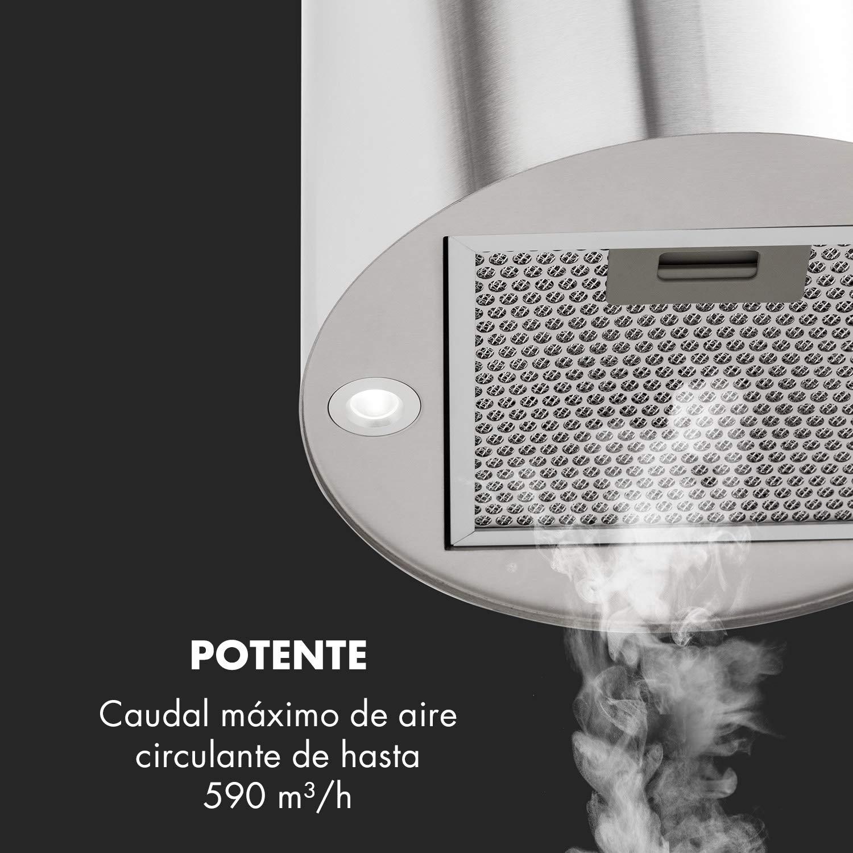 Potencia de 190 W Ventilaci/ón m/áxima de 590 m/³//h /Ø 35cm Plateado Acero inoxidable Klarstein Barett extractor de humos 3 niveles de potencia Iluminaci/ón LED Campana extractora aislada