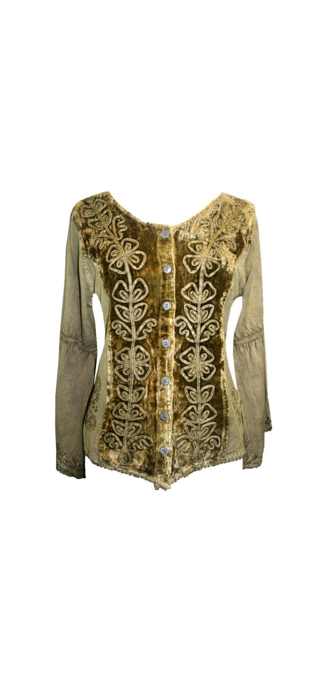 B Womens Renaissance Vintage Gothic Velvet Button Down Shirt