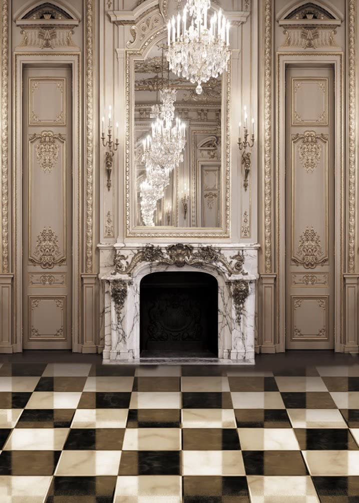 White Black Floor Fireplace Photography Backdrops Photo Props Studio Background 5x7ft