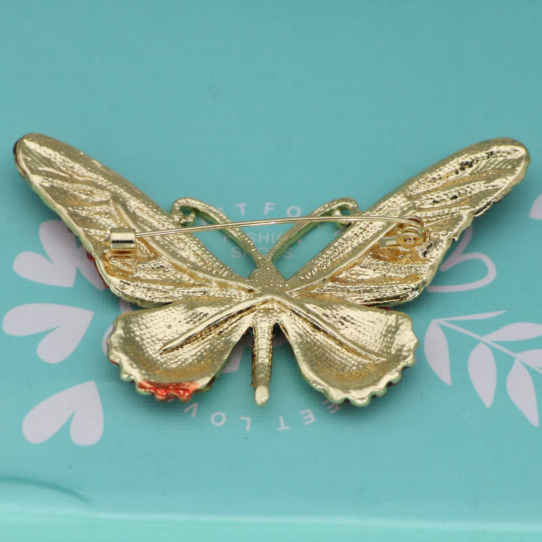 Mondora Prom Brooch Pin Animal Buttwefly Enamel Women's Austrian Crystal Gold-Tone Blue by Mondora (Image #4)