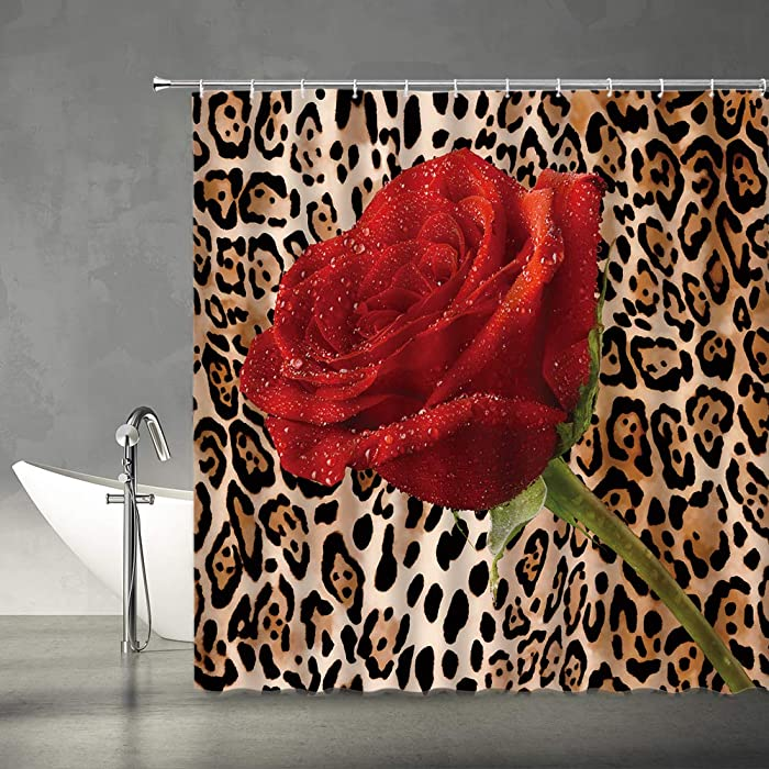 XZMAN Leopard Shower Curtain Red Rose Mix Wild Animal Leopard Print Pattern Background Romantic Creative Polyester Home Bathroom Curtains Decor Set Include Hooks,(70