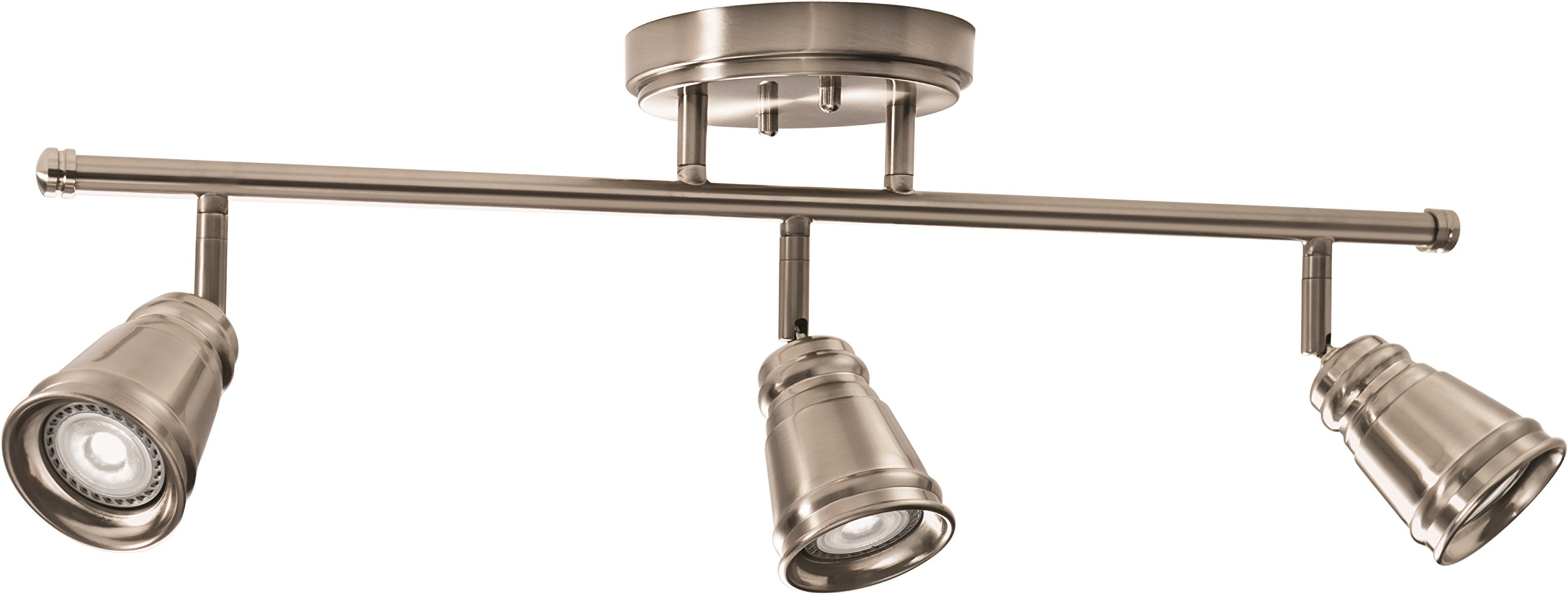 Lithonia Lighting LTFPMILL MR16GU10 LED 27K 3H BN M4 Led 3 Head Peppermill Fixed Track Kit, 21W, Brushed Nickel