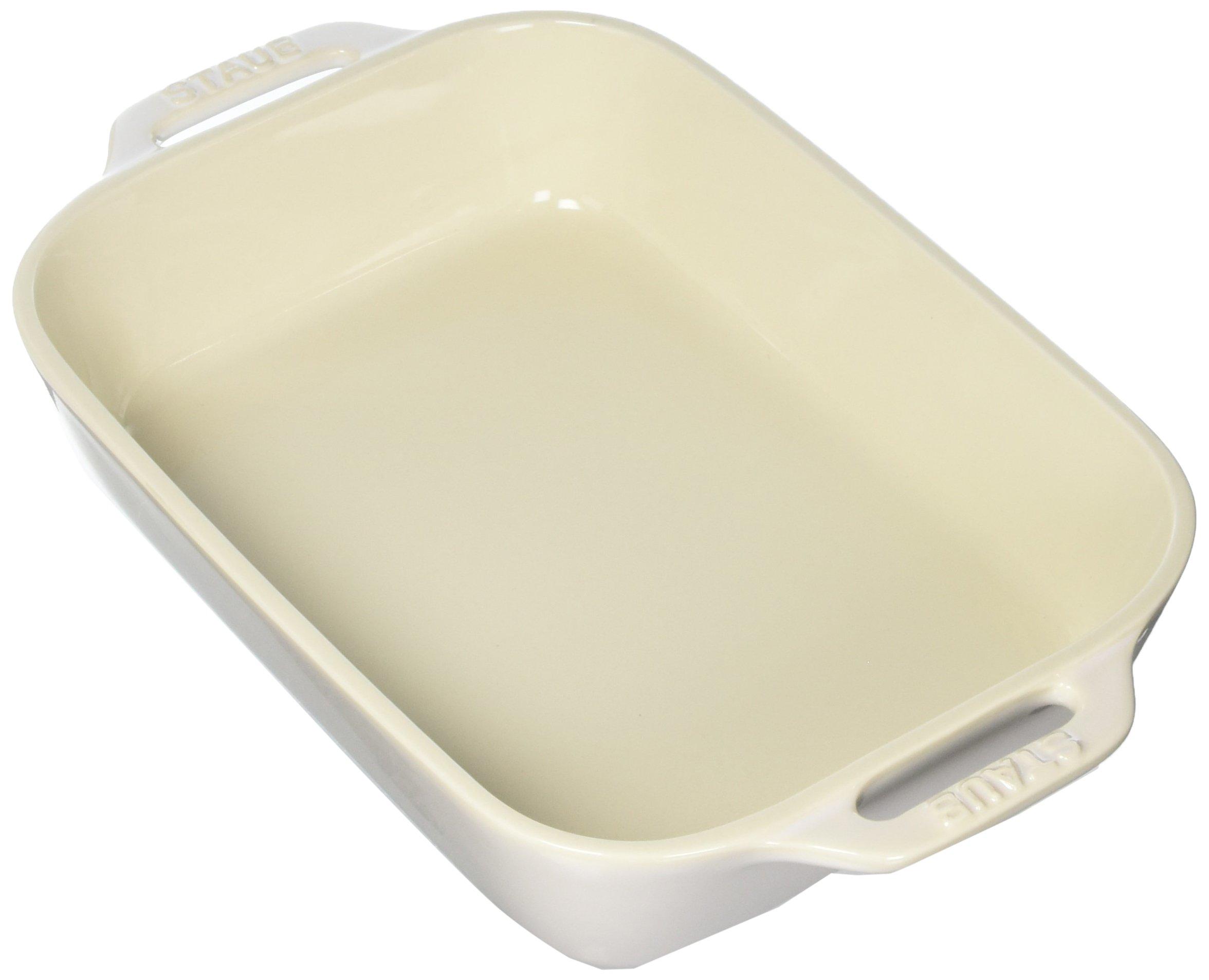Staub 40511-883 Ceramics Rectangular Baking Dish, 10.5x7.5-inch, Rustic Ivory by STAUB (Image #1)