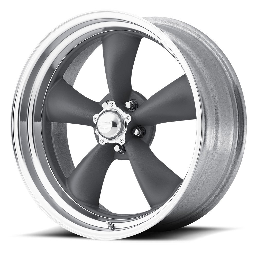 American Racing VN215 Classic Torq Thrust II 1 Pc Mag Gray Wheel with Center Polished Barrel (18x9''/5x120.7mm, 00mm offset)