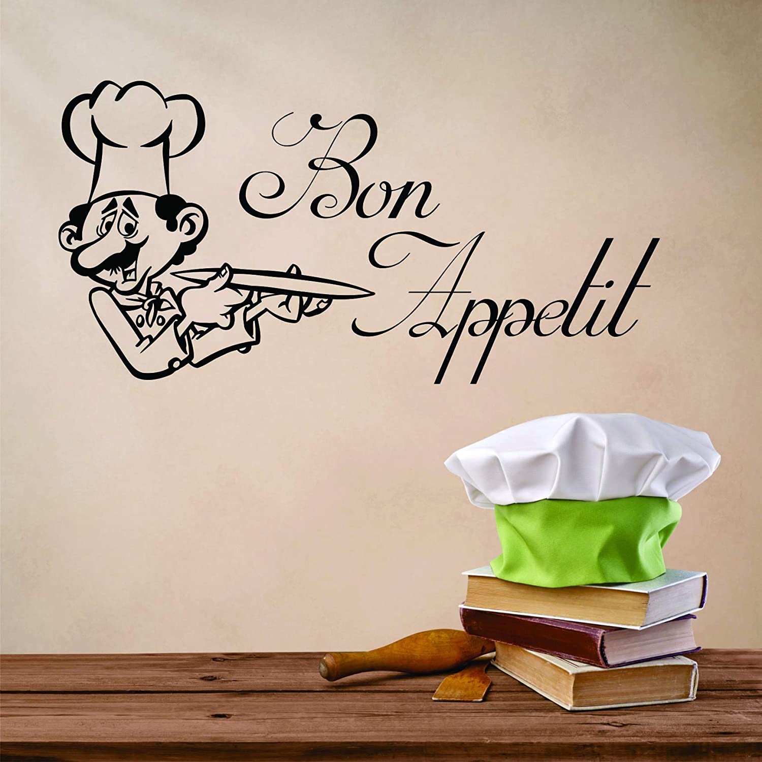 Top Selling Decals - Prices Reduced : Vinyl Wall Sticker : Bon Appetit Chef Kitchen Stylish Decor Bedroom Bathroom Living Room Picture Art Chef Bake Mural Kitchen Decor Cook Baker – Size:12X18Inch