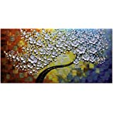 Asdam Art-White Maple Tree Artwork Abstract Wall Art 3D Oil Paintings on Canvas Modern Home Decor Artwork for Wall (24X48 inch)