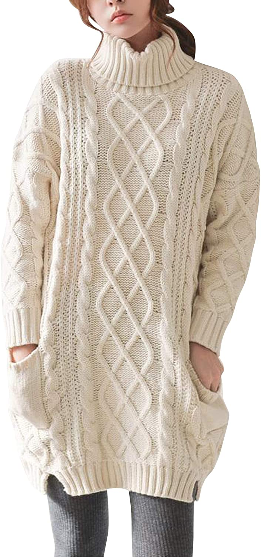 Donna Maglione di Cashmere Caldo Inverno Manica Lunga Maglia Comfort